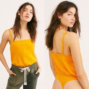 Free People Marissa Ribbed Bodysuit Marigold Small